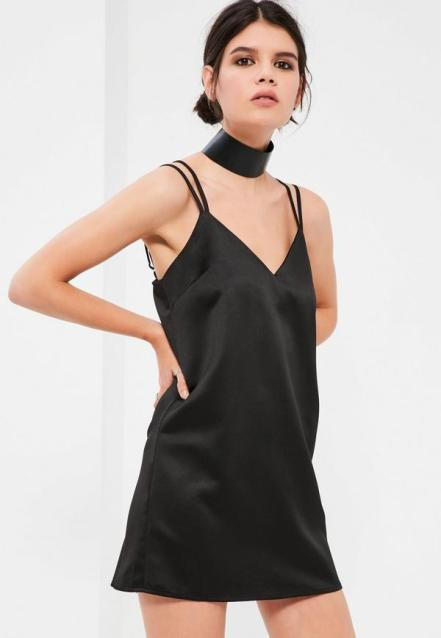 petite-black-satin-cami-dress